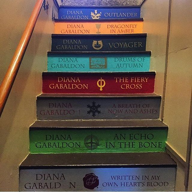 An Outlander themed staircase have you ever seen something so amazing - I would definitely do this to the staircase in my house, if only I had one... #outlander #staircase