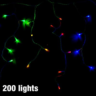 Long/Short Icicle Strand Christmas Lights - 200 Multi-Coloured Solar LED Lights - Steady + 7 Flashing Functions for Outdoor Use - 3.9m x 45c...