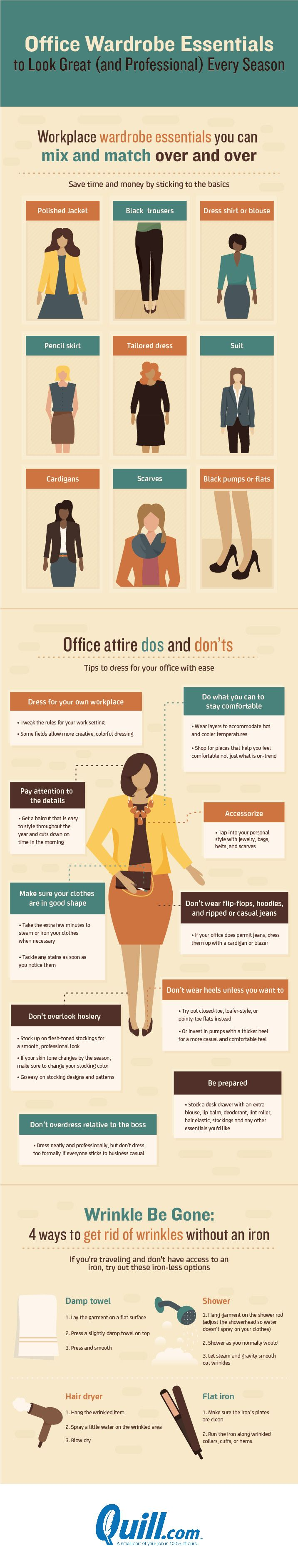 Office Wardrobe Essentials To Look Great (And Professional) Every Season #Infographic #Career