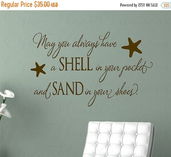 May You Always Have A Shell In Your Pocket Wall Decal   Beach Nautical Vinyl  Wall Quote Saying X