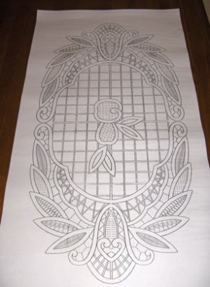 Romanian point lace - tablecloth - 015-pattern on paper