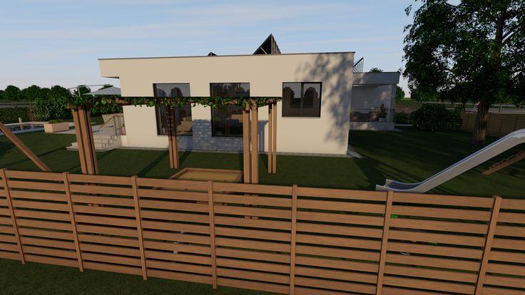 Modern, 5 szobás, 229 m2-es földszintes családi ház mintaterve, alaprajzzal A nyugati homlokzat a hátsó kerttel.