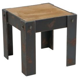 Brimming with industrial appeal, this wood end table features a rustic-chic finish and handsome bolt accents.