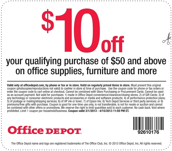 Save $10 OFF when you spend $50 or more, with this Office Depot - office depot