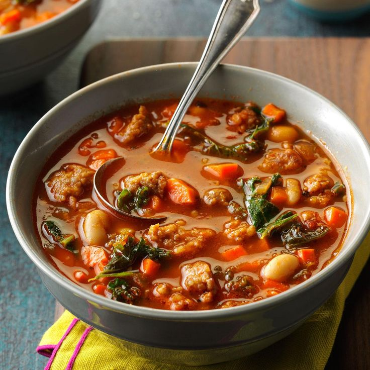 Italian Sausage & Kale Soup Recipe -The first time I made this colorful soup, our home smelled wonderful. We knew it was a keeper to see us through cold winter days. —Sarah Stombaugh, Chicago, Illinois