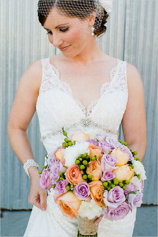 peach and purple bridal bouquet by Vaughn Floral Design