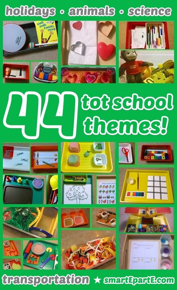 44 Tot School Themes! Tot trays for holiday, transportation, animals and more!