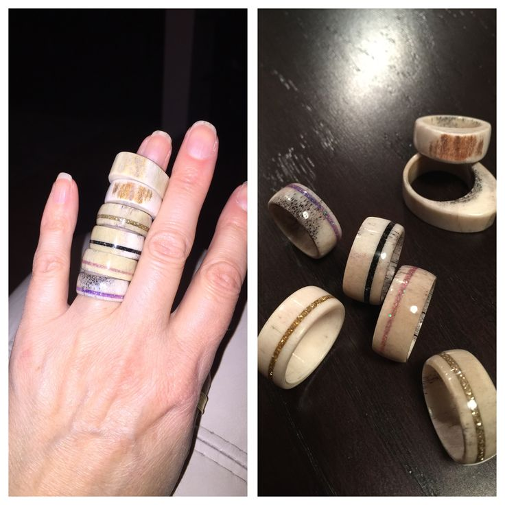 Elk antler rings with glitter inlay