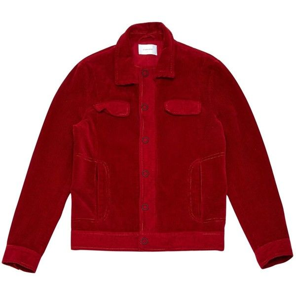 Pre-owned Carven Jacket ($189) ❤ liked on Polyvore featuring men's fashion, men's clothing, men's outerwear, men's jackets, men clothing jackets, red, mens red jacket and mens corduroy jacket