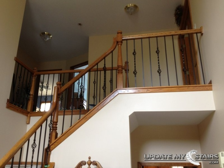 Basket Balusters Installed By Update My Stairs Inc. Wood StairsStair  RailingWood ...