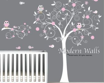 Stickers Autocollants vinyle Wall Decal arbre branche hiboux
