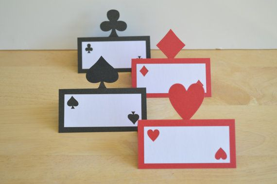 Casino Night Place Cards - Set of 12 - Playing Card Food Tents - Las Vegas Party Theme - Game Night - Adult Birthday - Gambling