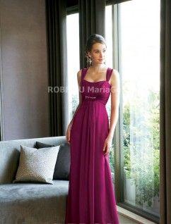 Robe de soirée taille empire perlée jupe longue mousseline de soie