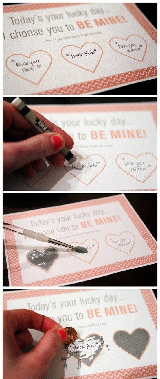 Fun idea! Make your own scratch off!.... another great idea to do for a special person one day