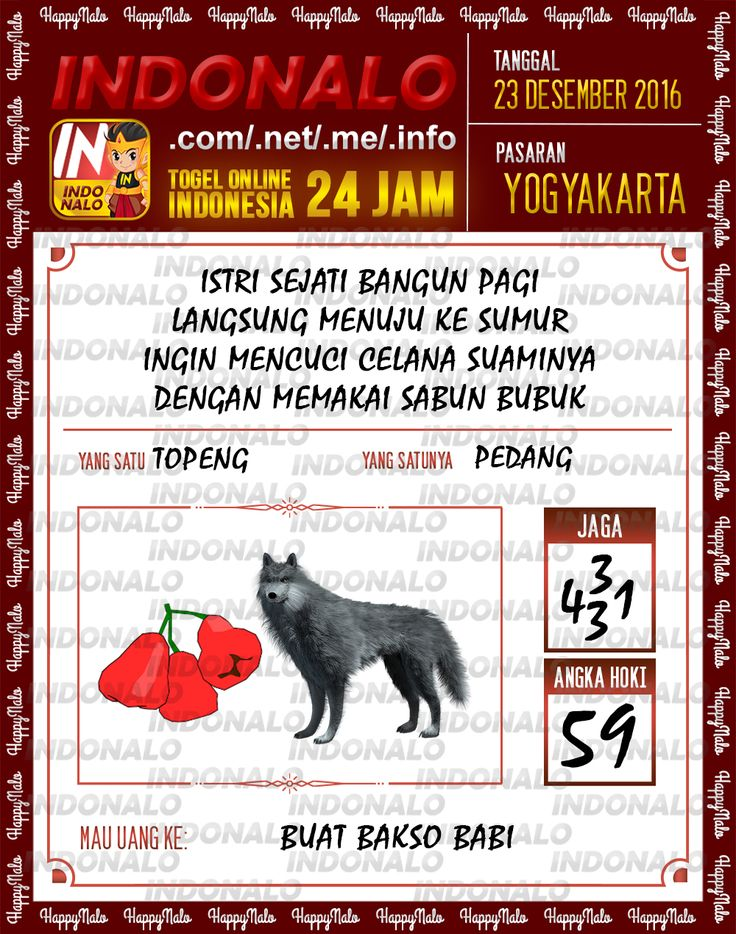 Angka Main 6D Togel Wap Online Live Draw 4D Indonalo Yogyakarta 23 Desember 2016