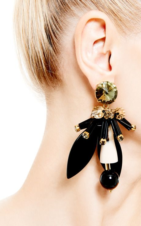 from earring leather and woman marni in f clip leaf us earrings the on shaped n metal