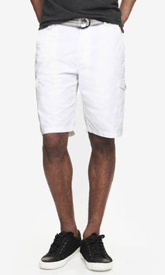 10 INCH BELTED CARGO SHORTS - WHITE from EXPRESS