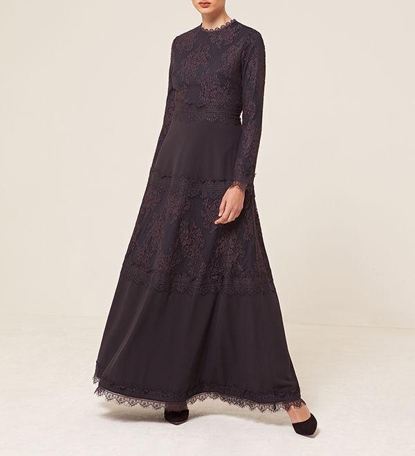 Washed Navy Panelled Lace Dress - £79.90 : Inayah, Islamic Clothing & Fashion, Abayas, Jilbabs, Hijabs, Jalabiyas & Hijab Pins