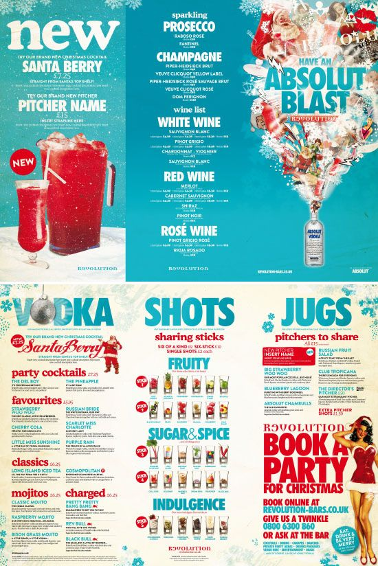 Absolut Vodka Menu for Vodka Revolution by www.diagramdesign.co.uk. Graphic Design, Typography, Colourful Christmas Design
