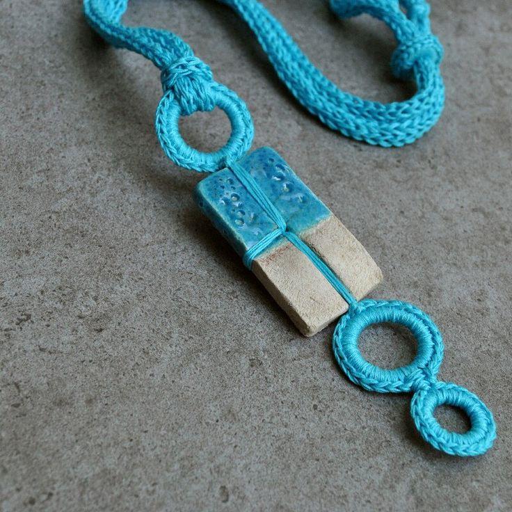 News from Aliquid.  Turquoise unique ceramic necklace