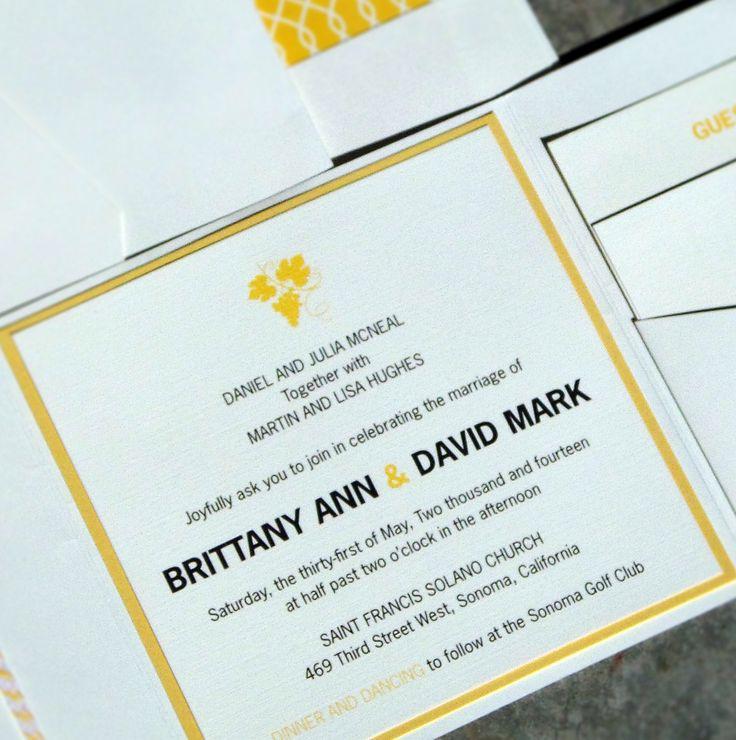 yellow and white modern wedding invitation for a destination wedding in Sonoma, California. Wine grape graphic sets the tone.