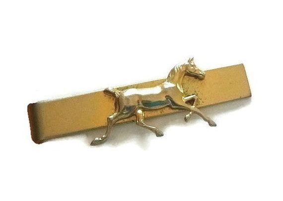 Vintage Gold Horse Tie Clip Bar Equestrian by PopcornVintageByTann