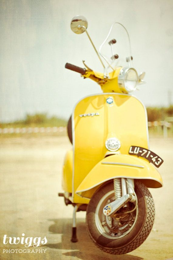 Jaune citron / Vespa Photography, Vintage Style, Vespa Print, Boys Room Decor, Mod & Retro Style - Vespa Love in Yellow Aesthetic Colors, Retro Aesthetic, Aesthetic Yellow, Vespa Roller, Objets Antiques, Retro Fashion, Vintage Fashion, Photocollage, Boys Room Decor