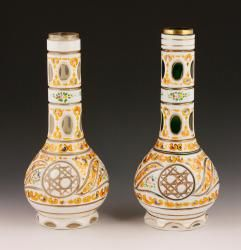 "Lot of two Bohemian glass vases, made for the Persian market, larger 13"" h, the other 12 3/4"" h, both 5 1/2"" dia. Provenance: From a California collection."