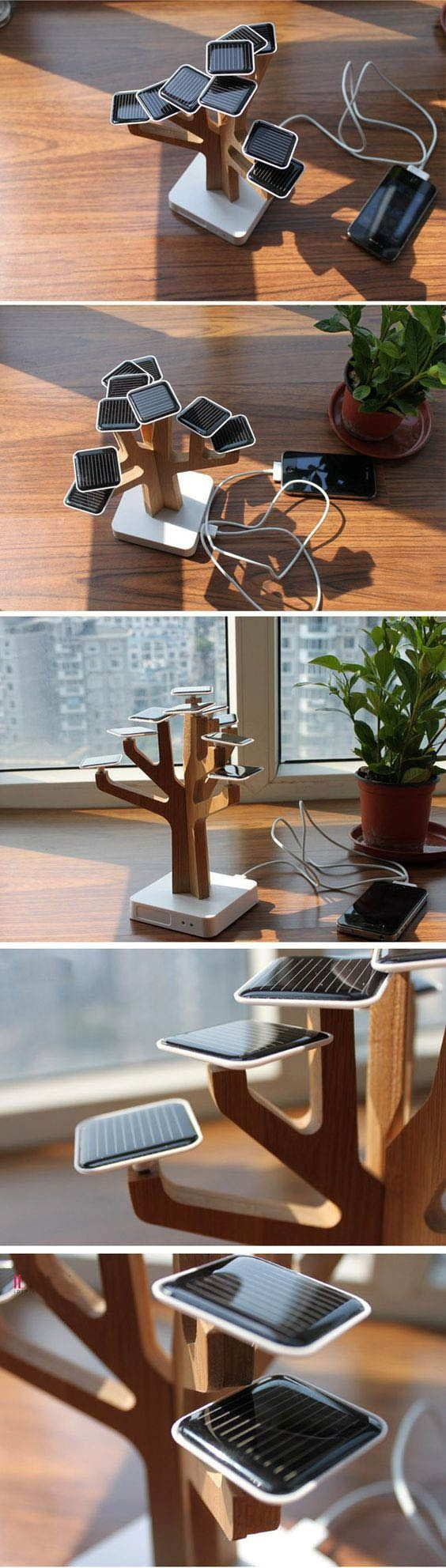 Solar powered tree to charge cell phones. Fits in as a décor piece as well.