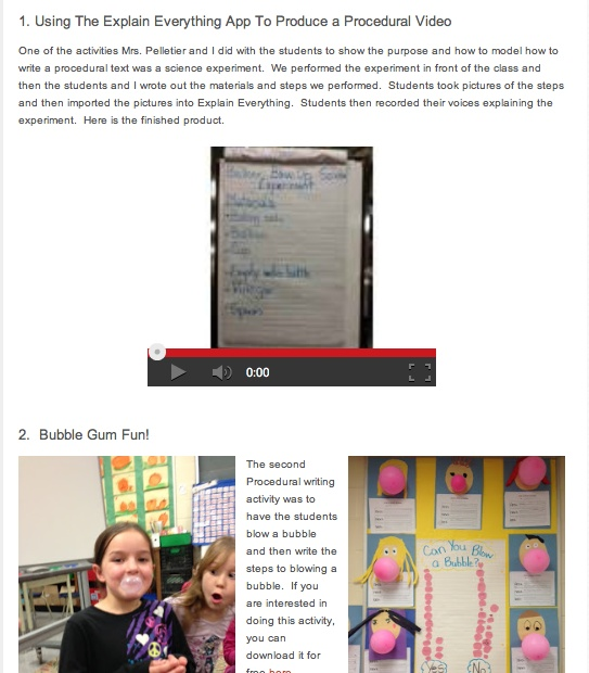 Procedural Writing with iPad Integration: Great ideas and student examples using Explain Everything (includes PDF templates and handouts too) http://www.mrswideen.com/2012/12/procedural-writing-unit-with-ipad.html