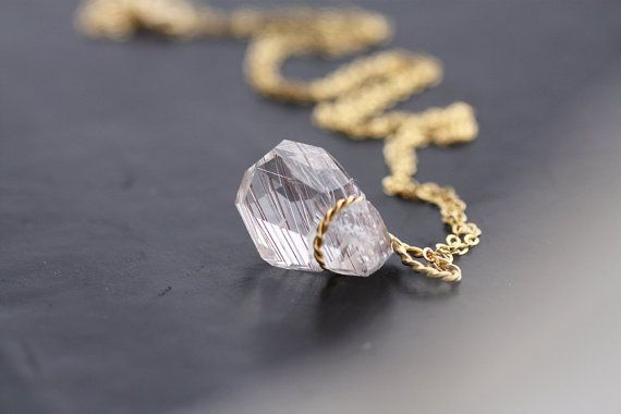 Quartz with rutile inclusions set with Gold by PetrosJewels