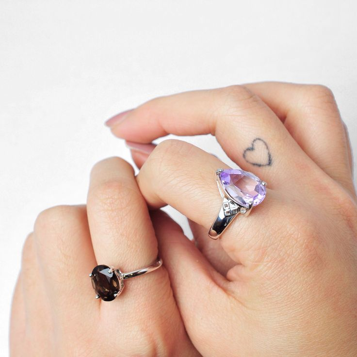 | Semi- precious stone rings - our new range from the precious fine collection |  #jewellery #amethyst #smokyquartz #rings #sterlingsilver #handcraftedjewellery www.pinchandfold.com