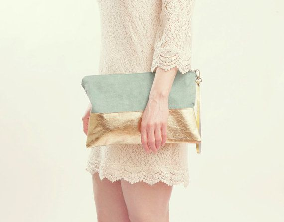 PASTEL SUEDE Clutch Metallic Clutch Wrist Strap by gracedesign, $68.00
