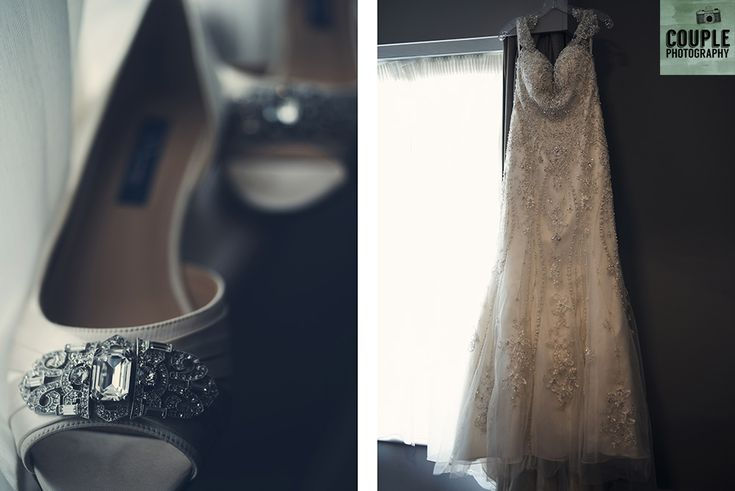 The bride opted for shoes with a low heel. Wedding in The Abbey Tavern, Howth. Photographed by Couple Photography.
