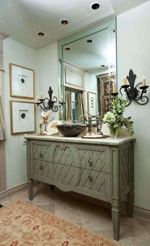 Think I would have done a different mirror. Love the Vanity.: Swedish Design, Old Dressers, Powder Bath, Splendid Sass, Beautiful Bathroom, Bath Vanities, Furniture As Bathroom Vanities, Bathroom Vessel Sinks, Bathroom Benches