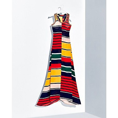Tommy Hilfiger women's blouse. As seen on the runway, bold stripes are the perfect counterpoint to the silk drape of this show-stopping dress. A limited-edition piece from Hilfiger Collection. <br>• Classic fit.<br>• 100% silk.<br>• Fit and flare silhouette.<br>• Dry clean.<br>• Imported.<br>