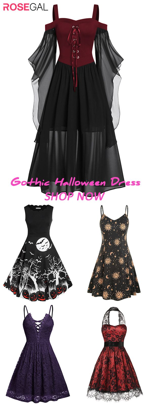 Rosegal plus size Lace Up Gothic Halloween Dress Gothic dress ideas