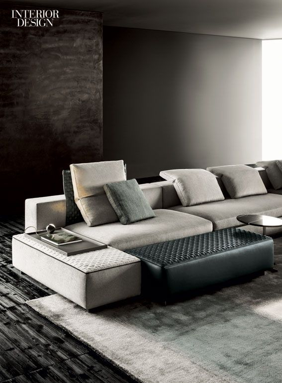 Sofa Tables Rudolfo Dordoni us Yang sectional with polyurethane foam and goose down fill and chenille and leather upholstery by Minotti
