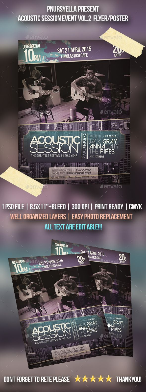 8 5x11 poster design - Acoustic Event Flyer Poster Vol 2