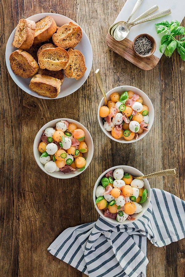 Fresh Mozzarella, Prosciutto & Melon Salad recipe, @waitingonmartha