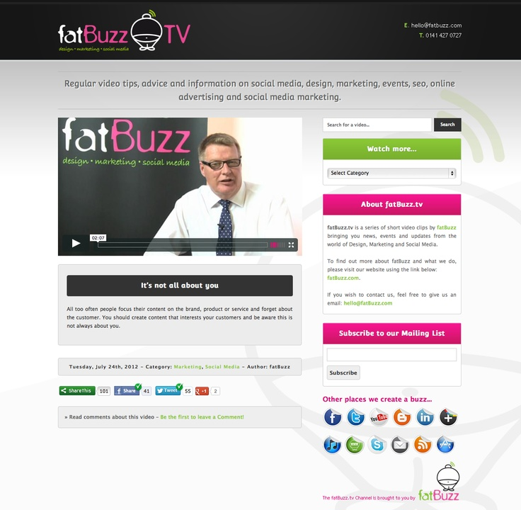www.fatbuzz.tv is a web site we created for our short video tips on design, marketing, social media, SEO, events and other related subjects. You can choose from a range of categories and keep up to date with all of our tips, tricks and advice.  http://fatbuzz.tv/