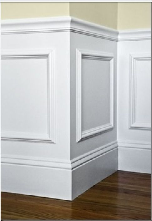 Easy wainscotting idea: buy frames from Michaels, glue to wall and paint over entire lower half.