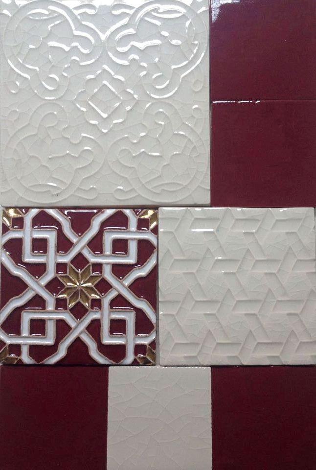 Colori d'autunno in bianco (craquelé B1) e arabesque in oro e amaranto. #DomenicoMori #handmade #madeinItaly  Autumn shades white (craquelé B1) and arabesque gold and reddish purple. Handmade tiles #MoriDomenico