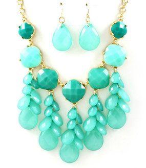 Turquoise Acrylic Teardrop Bib Statement Necklace Earring Set