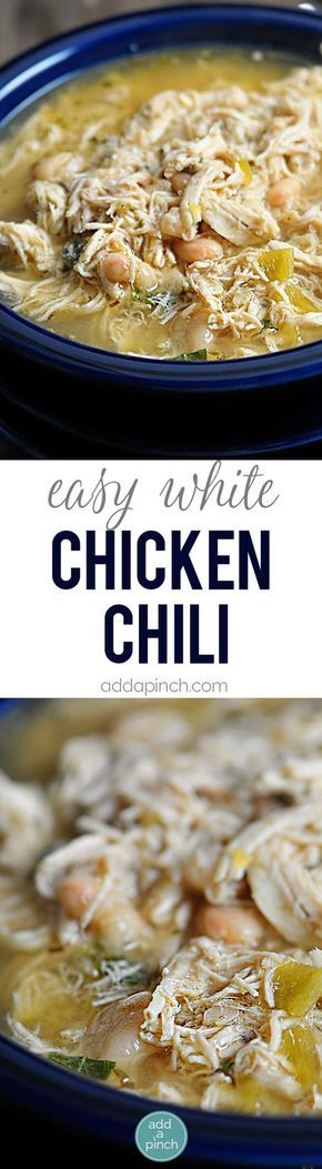 Easy White Chicken Chili Recipe - White Chicken Chili makes a delicious meal full of spicy chili flavor, chicken and white beans. You'll love this easy White Chicken Chili recipe. Stovetop, Slow Cooker and Freezer Instructions are provided to make easily make this White Chicken Chili a favorite anytime!