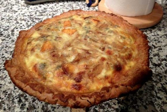 Roasted sweet potato, caramelized onion, and blue cheese quiche.
