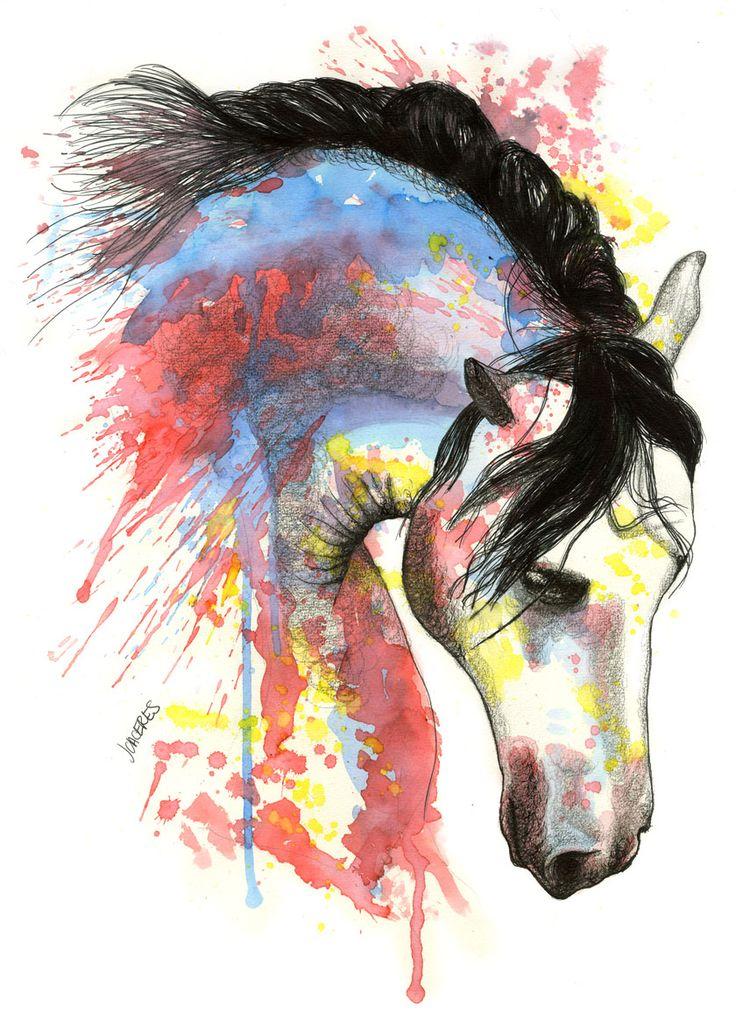 Caballo 3. Por Jesús Cáceres. Acuarela + tinta / watercolor & ink