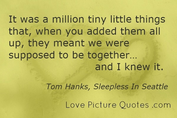 famous love quotes a million tiny little things tom hanks sleepless in seattle