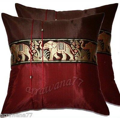 Sofa Slipcovers  Thai Silk Elephant Decorative Pillow Cover Cushion Cases Sofa Burgundy
