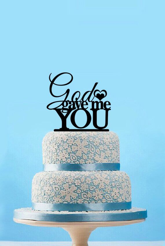 God gave me you topper-cake topper wedding-cake toppers for wedding-funny wedding cake topper-monogram cake topper-engagement cake topper by designsgift on Etsy https://www.etsy.com/listing/242827843/god-gave-me-you-topper-cake-topper